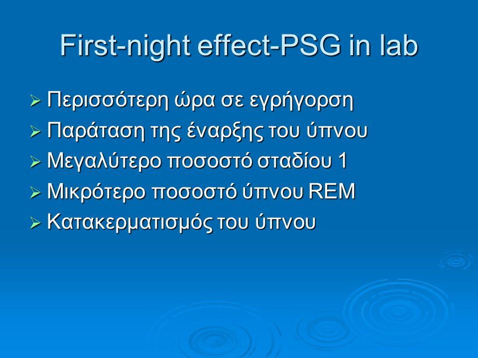 First-night effect-PSG in lab  Περισσότερη ώρα σε εγρήγορση  Παράταση της έναρξης του ύπνου  Μεγαλύτερο ποσοστό σταδίου 1  Μικρότερο ποσοστό ύπνου