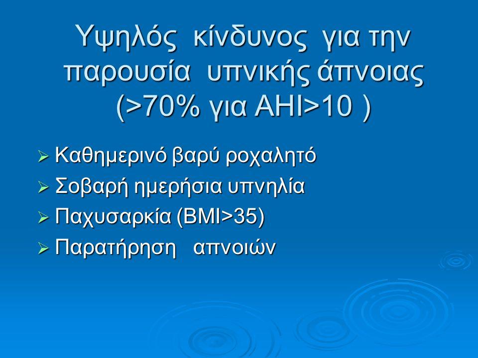 Υψηλός κίνδυνος για την παρουσία υπνικής άπνοιας (>70% για ΑΗΙ>10 )  Καθημερινό βαρύ ροχαλητό  Σοβαρή ημερήσια υπνηλία  Παχυσαρκία (ΒΜΙ>35)  Παρατ