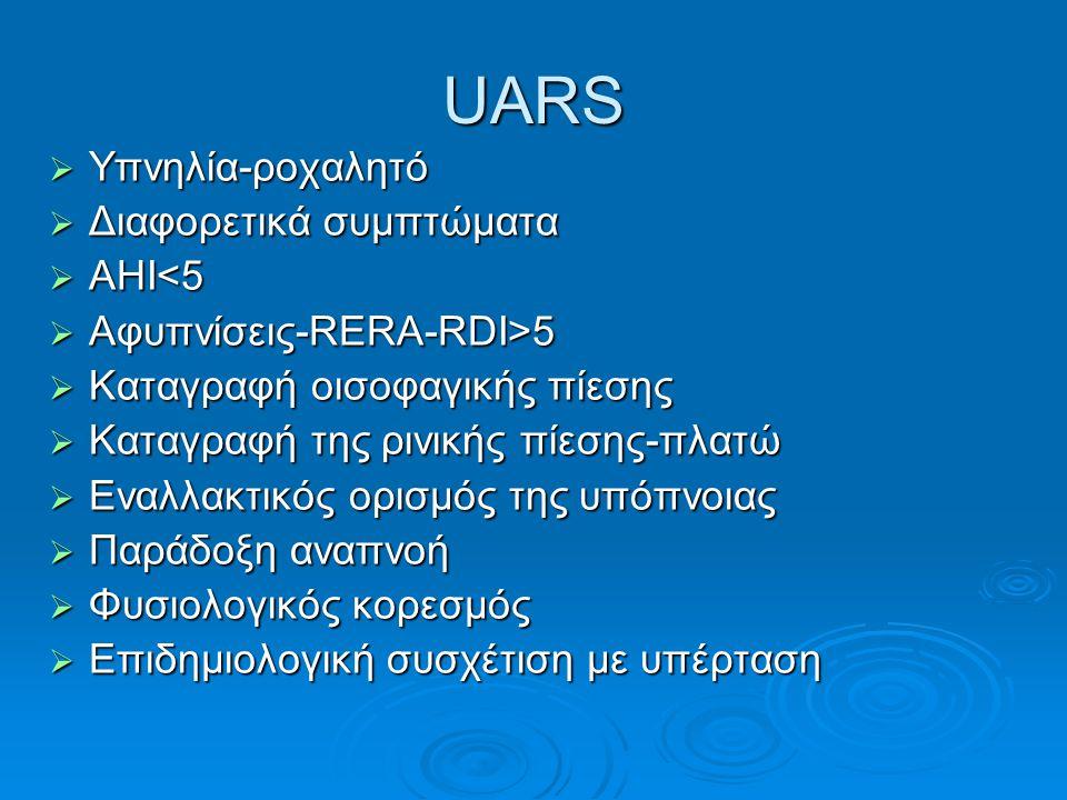 UARS  Υπνηλία-ροχαλητό  Διαφορετικά συμπτώματα  ΑΗΙ<5  Αφυπνίσεις-RERA-RDI>5  Καταγραφή οισοφαγικής πίεσης  Καταγραφή της ρινικής πίεσης-πλατώ 