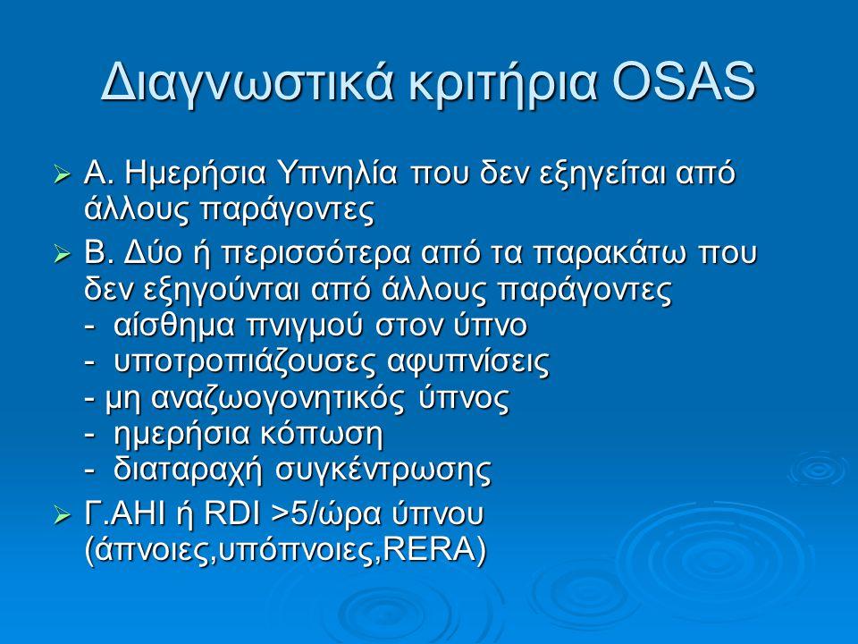 Διαγνωστικά κριτήρια OSAS  A. Ημερήσια Υπνηλία που δεν εξηγείται από άλλους παράγοντες  Β. Δύο ή περισσότερα από τα παρακάτω που δεν εξηγούνται από