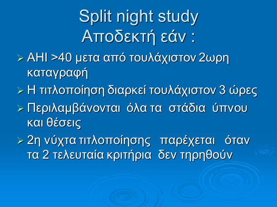 Split night study Αποδεκτή εάν :  AHI >40 μετα από τουλάχιστον 2ωρη καταγραφή  Η τιτλοποίηση διαρκεί τουλάχιστον 3 ώρες  Περιλαμβάνονται όλα τα στά