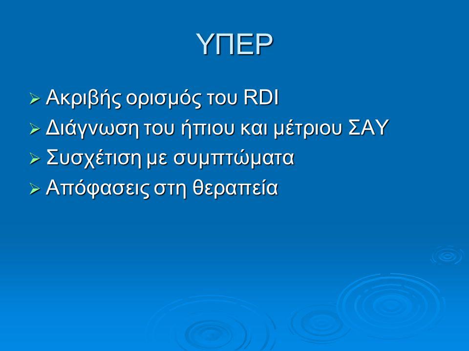 ΥΠΕΡ  Ακριβής ορισμός του RDI  Διάγνωση του ήπιου και μέτριου ΣΑΥ  Συσχέτιση με συμπτώματα  Απόφασεις στη θεραπεία
