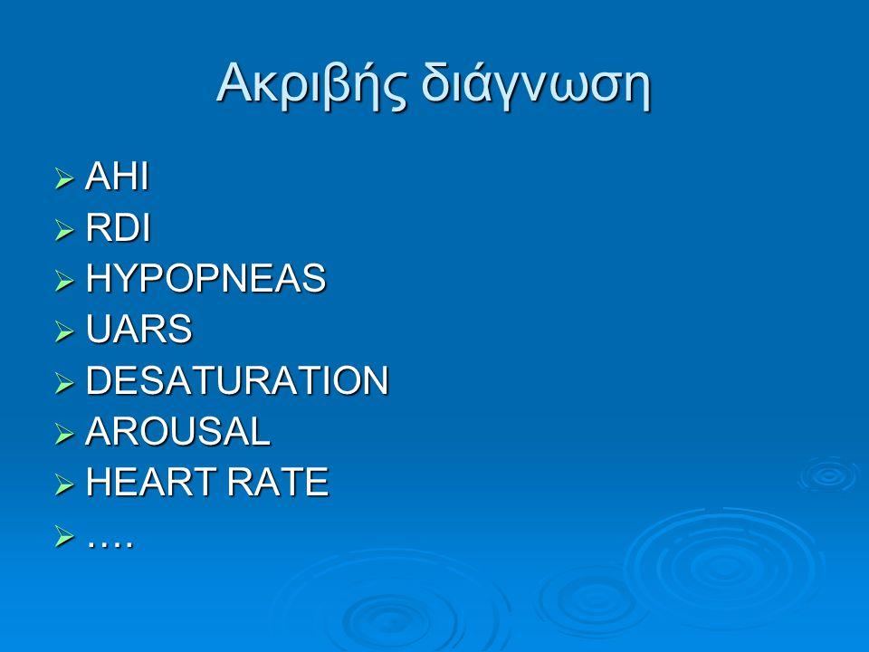 Μεταβλητότητα του ΑΗΙ  89% AHI1#AHI2  28% ΑΗΙ 5 στην άλλη  24% για ΑΗΙ>10  20% για ΑΗΙ>15  15% μεταβολή >10 στον ΑΗΙ  7% ΑΗΙ 5 (2η)  5% ΑΗΙ 10(2)  7% ΑΗΙ 15(2)  13% πιο σοβαρη νόσο στη 2η Hypopnea : 50% reduction plus 3% Ahmadi et al, Sleep Breath 2009;13:221-226