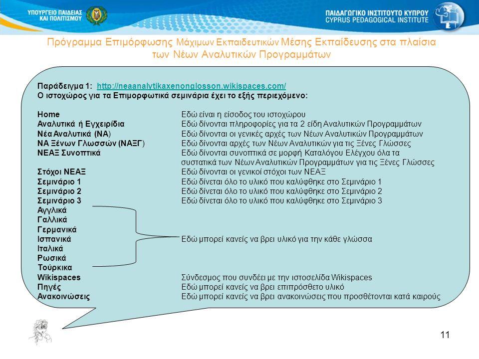 11 Πρόγραμμα Επιμόρφωσης Μάχιμων Εκπαιδευτικών Μέσης Εκπαίδευσης στα πλαίσια των Νέων Αναλυτικών Προγραμμάτων Δημιουργία Wiki Παράδειγμα 1: http://nea