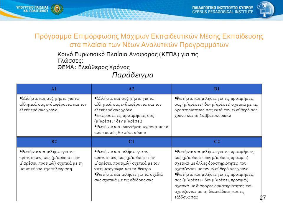 27 Πρόγραμμα Επιμόρφωσης Μάχιμων Εκπαιδευτικών Μέσης Εκπαίδευσης στα πλαίσια των Νέων Αναλυτικών Προγραμμάτων Κοινό Ευρωπαϊκό Πλαίσιο Αναφοράς (ΚΕΠΑ) για τις Γλώσσες: ΘΕΜΑ: Ελεύθερος Χρόνος Παράδειγμα A1A2B1  Μιλήστε και συζητήστε για τα αθλητικά σας ενδιαφέροντα και τον ελεύθερό σας χρόνο.