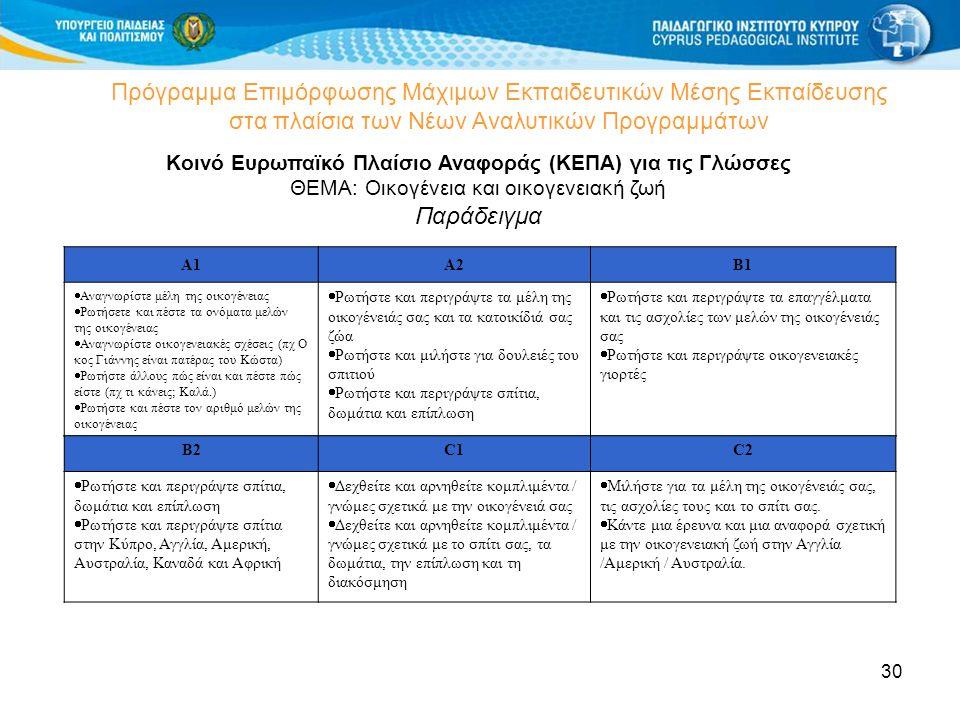 30 Πρόγραμμα Επιμόρφωσης Μάχιμων Εκπαιδευτικών Μέσης Εκπαίδευσης στα πλαίσια των Νέων Αναλυτικών Προγραμμάτων Κοινό Ευρωπαϊκό Πλαίσιο Αναφοράς (ΚΕΠΑ)
