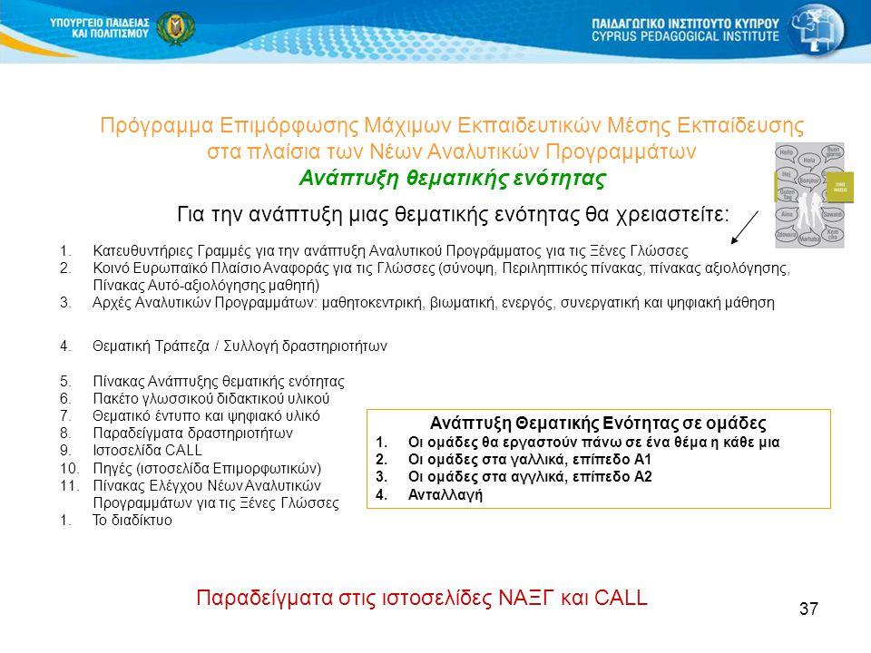 37 Πρόγραμμα Επιμόρφωσης Μάχιμων Εκπαιδευτικών Μέσης Εκπαίδευσης στα πλαίσια των Νέων Αναλυτικών Προγραμμάτων Ανάπτυξη θεματικής ενότητας 1.Κατευθυντήριες Γραμμές για την ανάπτυξη Αναλυτικού Προγράμματος για τις Ξένες Γλώσσες 2.Κοινό Ευρωπαϊκό Πλαίσιο Αναφοράς για τις Γλώσσες (σύνοψη, Περιληπτικός πίνακας, πίνακας αξιολόγησης, Πίνακας Αυτό-αξιολόγησης μαθητή) 3.Αρχές Αναλυτικών Προγραμμάτων: μαθητοκεντρική, βιωματική, ενεργός, συνεργατική και ψηφιακή μάθηση 4.Θεματική Τράπεζα / Συλλογή δραστηριοτήτων 5.Πίνακας Ανάπτυξης θεματικής ενότητας 6.Πακέτο γλωσσικού διδακτικού υλικού 7.Θεματικό έντυπο και ψηφιακό υλικό 8.Παραδείγματα δραστηριοτήτων 9.Ιστοσελίδα CALL 10.Πηγές (ιστοσελίδα Επιμορφωτικών) 11.Πίνακας Ελέγχου Νέων Αναλυτικών Προγραμμάτων για τις Ξένες Γλώσσες 1.Το διαδίκτυο Για την ανάπτυξη μιας θεματικής ενότητας θα χρειαστείτε: Ανάπτυξη Θεματικής Ενότητας σε ομάδες 1.Οι ομάδες θα εργαστούν πάνω σε ένα θέμα η κάθε μια 2.Οι ομάδες στα γαλλικά, επίπεδο Α1 3.Οι ομάδες στα αγγλικά, επίπεδο Α2 4.Ανταλλαγή Παραδείγματα στις ιστοσελίδες ΝΑΞΓ και CALL