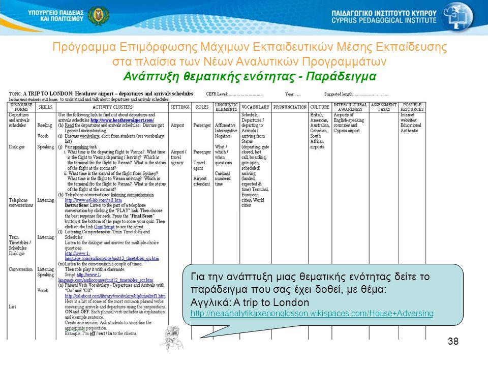 38 Πρόγραμμα Επιμόρφωσης Μάχιμων Εκπαιδευτικών Μέσης Εκπαίδευσης στα πλαίσια των Νέων Αναλυτικών Προγραμμάτων Ανάπτυξη θεματικής ενότητας - Παράδειγμα