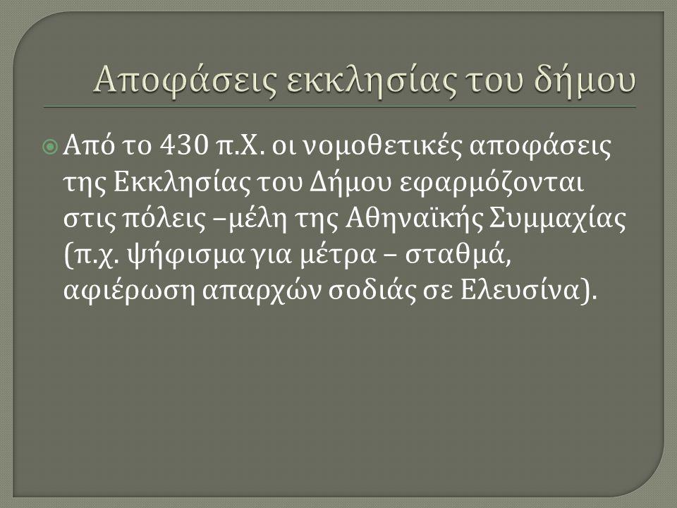  Από το 430 π. Χ. οι νομοθετικές αποφάσεις της Εκκλησίας του Δήμου εφαρμόζονται στις πόλεις – μέλη της Αθηναϊκής Συμμαχίας ( π. χ. ψήφισμα για μέτρα