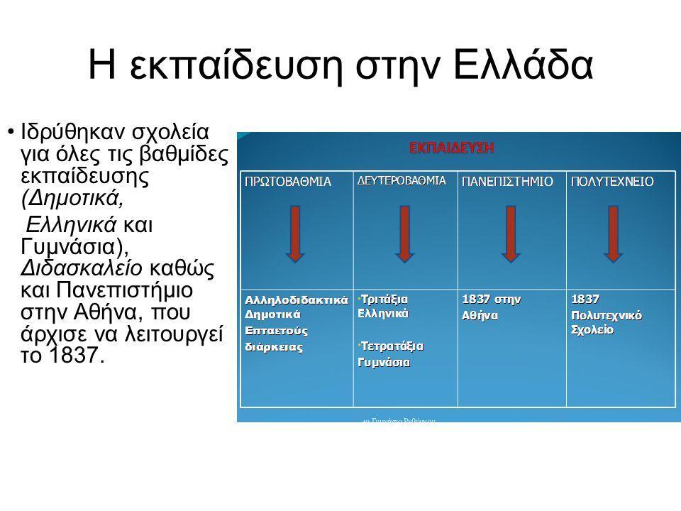 Η εκπαίδευση στην Ελλάδα Ιδρύθηκαν σχολεία για όλες τις βαθμίδες εκπαίδευσης (Δημοτικά, Ελληνικά και Γυμνάσια), Διδασκαλείο καθώς και Πανεπιστήμιο στην Αθήνα, που άρχισε να λειτουργεί το 1837.
