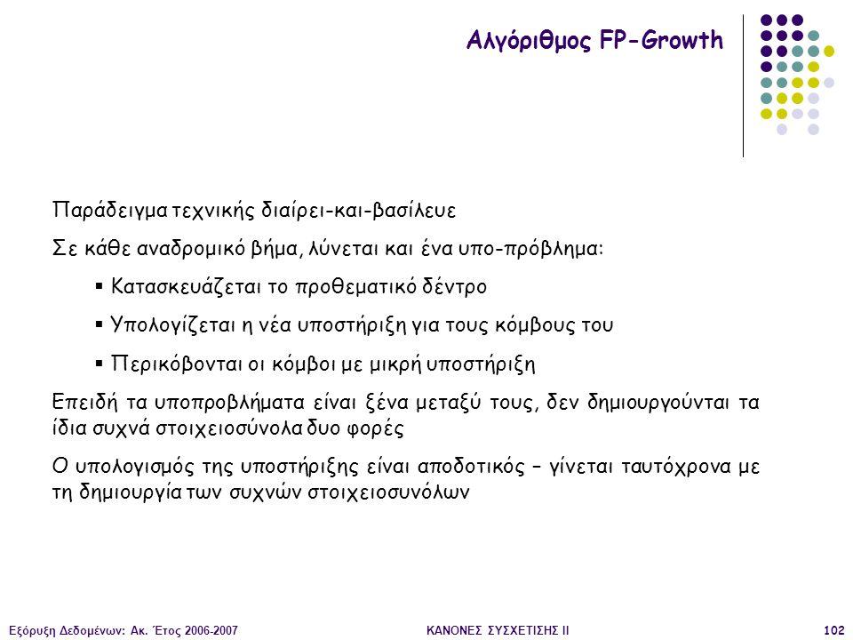 Εξόρυξη Δεδομένων: Ακ. Έτος 2006-2007ΚΑΝΟΝΕΣ ΣΥΣΧΕΤΙΣΗΣ II102 Αλγόριθμος FP-Growth Παράδειγμα τεχνικής διαίρει-και-βασίλευε Σε κάθε αναδρομικό βήμα, λ