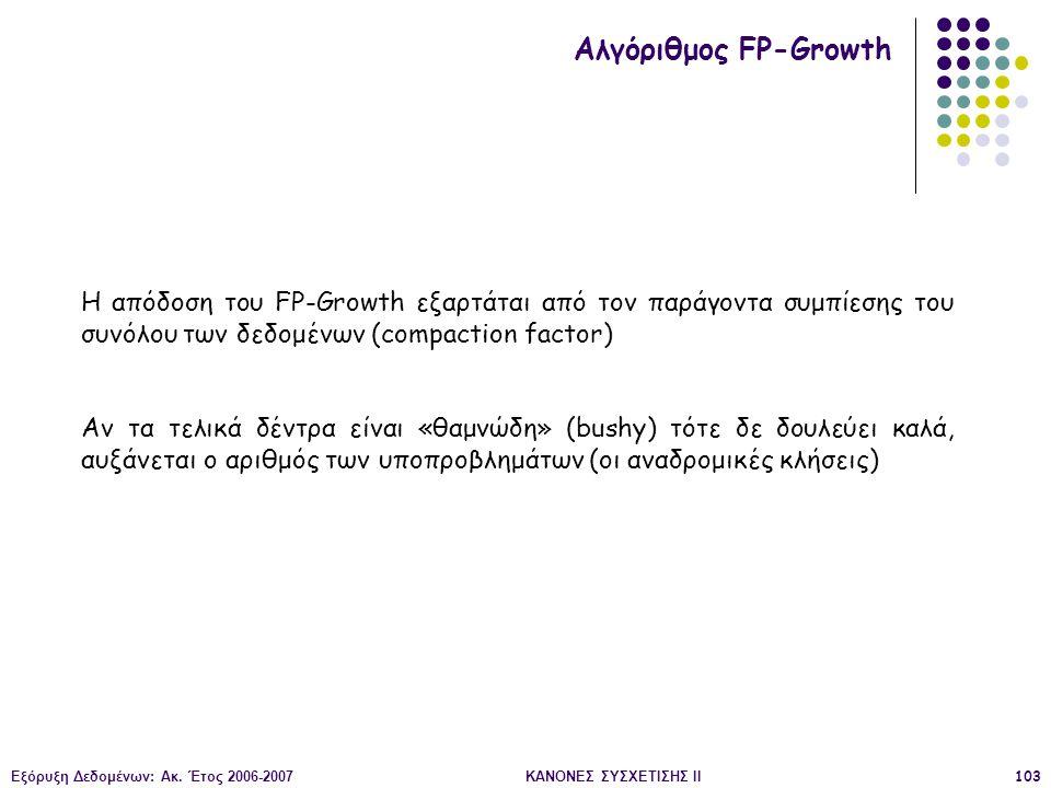Εξόρυξη Δεδομένων: Ακ. Έτος 2006-2007ΚΑΝΟΝΕΣ ΣΥΣΧΕΤΙΣΗΣ II103 Αλγόριθμος FP-Growth Η απόδοση του FP-Growth εξαρτάται από τον παράγοντα συμπίεσης του σ