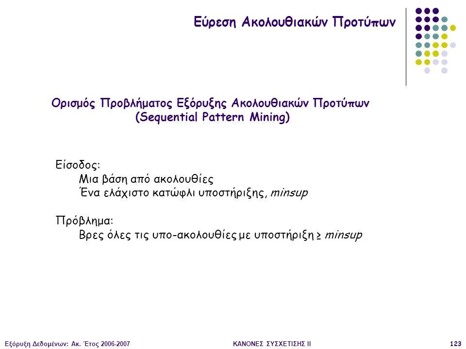 Εξόρυξη Δεδομένων: Ακ. Έτος 2006-2007ΚΑΝΟΝΕΣ ΣΥΣΧΕΤΙΣΗΣ II123 Ορισμός Προβλήματος Εξόρυξης Ακολουθιακών Προτύπων (Sequential Pattern Mining) Εύρεση Ακ