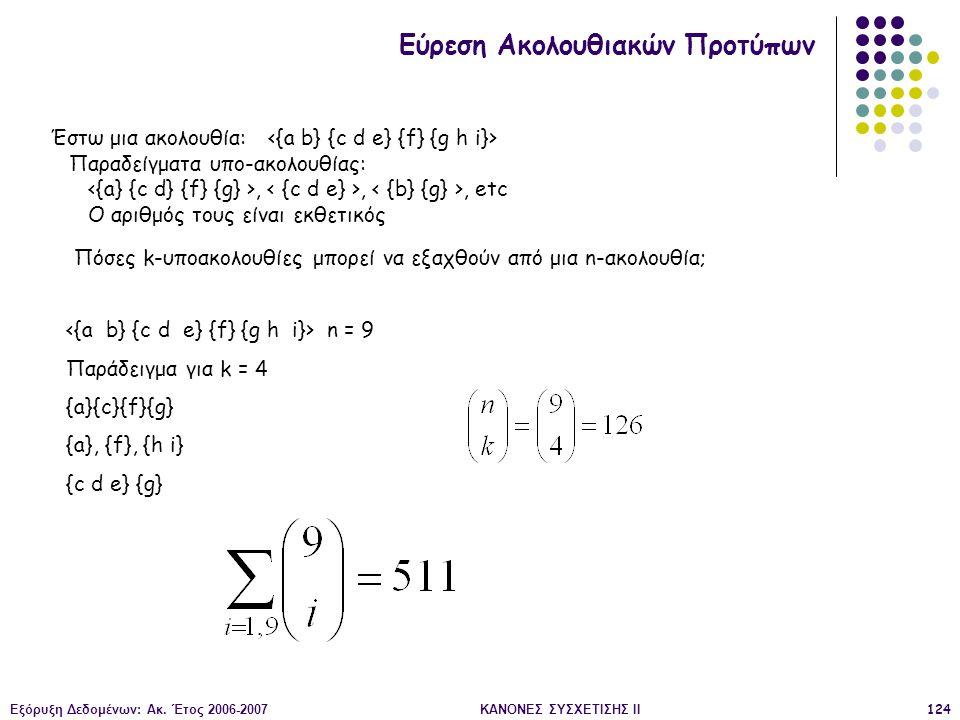 Εξόρυξη Δεδομένων: Ακ. Έτος 2006-2007ΚΑΝΟΝΕΣ ΣΥΣΧΕΤΙΣΗΣ II124 Εύρεση Ακολουθιακών Προτύπων Έστω μια ακολουθία: Παραδείγματα υπο-ακολουθίας:,,, etc Ο α