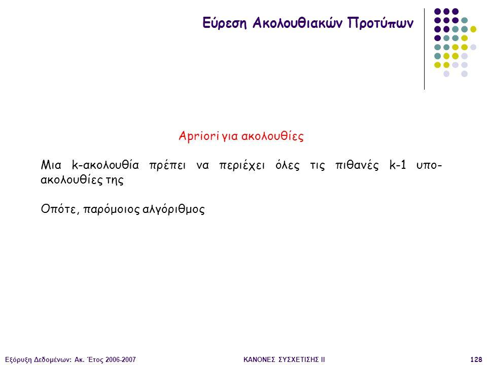 Εξόρυξη Δεδομένων: Ακ. Έτος 2006-2007ΚΑΝΟΝΕΣ ΣΥΣΧΕΤΙΣΗΣ II128 Εύρεση Ακολουθιακών Προτύπων Apriori για ακολουθίες Μια k-ακολουθία πρέπει να περιέχει ό