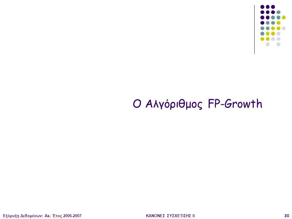 Εξόρυξη Δεδομένων: Ακ. Έτος 2006-2007ΚΑΝΟΝΕΣ ΣΥΣΧΕΤΙΣΗΣ II30 Ο Αλγόριθμος FP-Growth