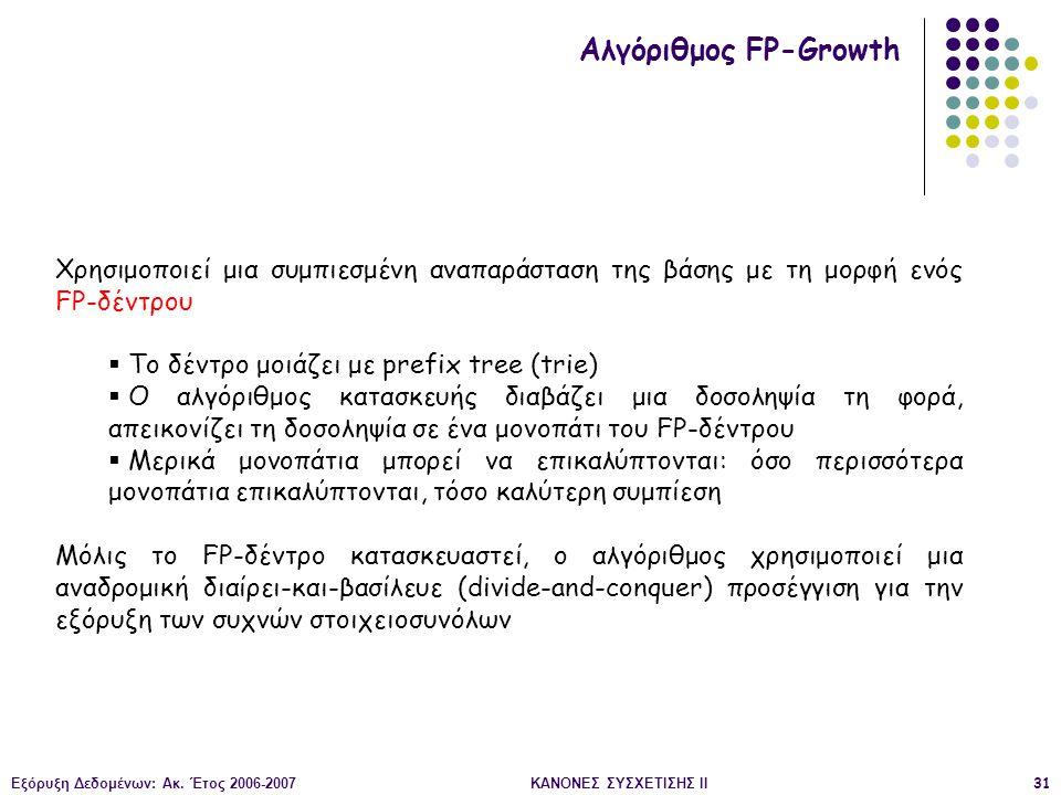 Εξόρυξη Δεδομένων: Ακ. Έτος 2006-2007ΚΑΝΟΝΕΣ ΣΥΣΧΕΤΙΣΗΣ II31 Αλγόριθμος FP-Growth Χρησιμοποιεί μια συμπιεσμένη αναπαράσταση της βάσης με τη μορφή ενός