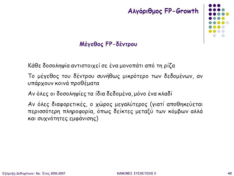 Εξόρυξη Δεδομένων: Ακ. Έτος 2006-2007ΚΑΝΟΝΕΣ ΣΥΣΧΕΤΙΣΗΣ II40 Μέγεθος FP-δέντρου Αλγόριθμος FP-Growth Κάθε δοσοληψία αντιστοιχεί σε ένα μονοπάτι από τη