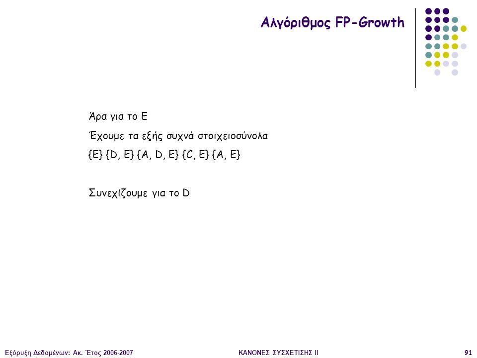 Εξόρυξη Δεδομένων: Ακ. Έτος 2006-2007ΚΑΝΟΝΕΣ ΣΥΣΧΕΤΙΣΗΣ II91 Αλγόριθμος FP-Growth Άρα για το Ε Έχουμε τα εξής συχνά στοιχειοσύνολα {Ε} {D, E} {A, D, E