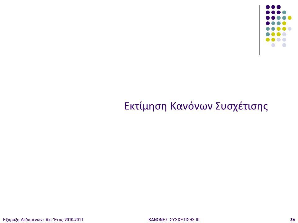 Εξόρυξη Δεδομένων: Ακ. Έτος 2010-2011ΚΑΝΟΝΕΣ ΣΥΣΧΕΤΙΣΗΣ III36 Εκτίμηση Κανόνων Συσχέτισης