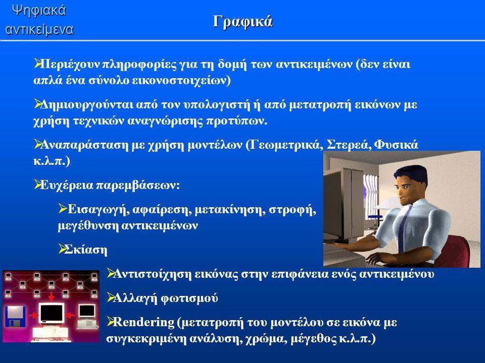 Ψηφιακάαντικείμενα Γραφικά  Περιέχουν πληροφορίες για τη δομή των αντικειμένων (δεν είναι απλά ένα σύνολο εικονοστοιχείων)  Δημιουργούνται από τον υ