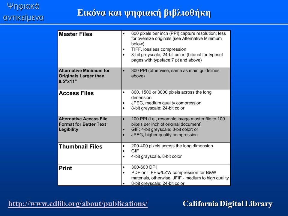 Ψηφιακάαντικείμενα Eικόνα και ψηφιακή βιβλιοθήκη http://www.cdlib.org/about/publications/http://www.cdlib.org/about/publications/ California Digital L