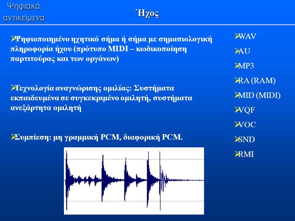 Ψηφιακάαντικείμενα Ήχος  Ψηφιοποιημένο ηχητικό σήμα ή σήμα με σημασιολογική πληροφορία ήχου (πρότυπο MIDI – κωδικοποίηση παρτιτούρας και των οργάνων)
