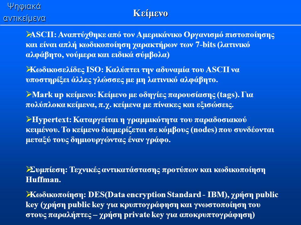 Ψηφιακάαντικείμενα Κείμενο  ASCII: Αναπτύχθηκε από τον Αμερικάνικο Οργανισμό πιστοποίησης και είναι απλή κωδικοποίηση χαρακτήρων των 7-bits (λατινικό