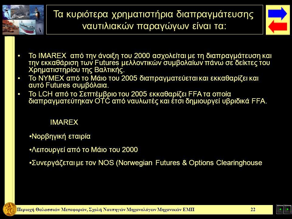 Τα κυριότερα χρηματιστήρια διαπραγμάτευσης ναυτιλιακών παραγώγων είναι τα: Περιοχή Θαλασσιών Μεταφορών, Σχολή Ναυπηγών Μηχανολόγων Μηχανικών ΕΜΠ 22 Το