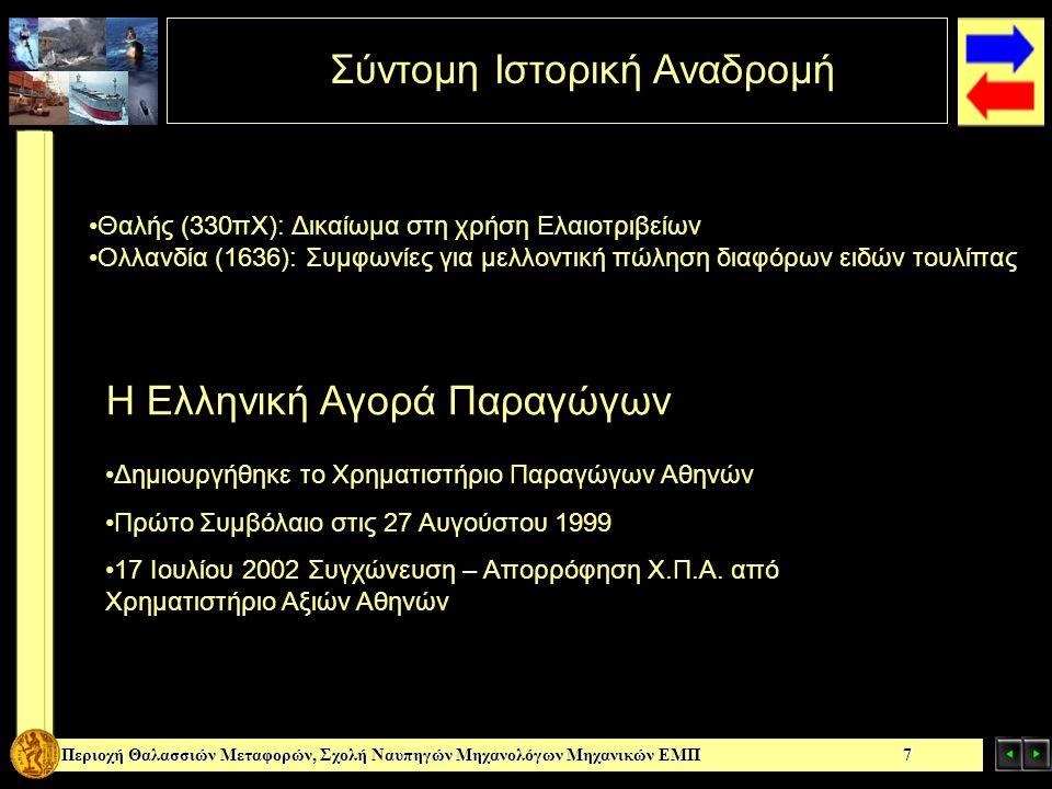 Περιοχή Θαλασσιών Μεταφορών, Σχολή Ναυπηγών Μηχανολόγων Μηχανικών ΕΜΠ 7 Σύντομη Ιστορική Αναδρομή Θαλής (330πΧ): Δικαίωμα στη χρήση Ελαιοτριβείων Ολλα