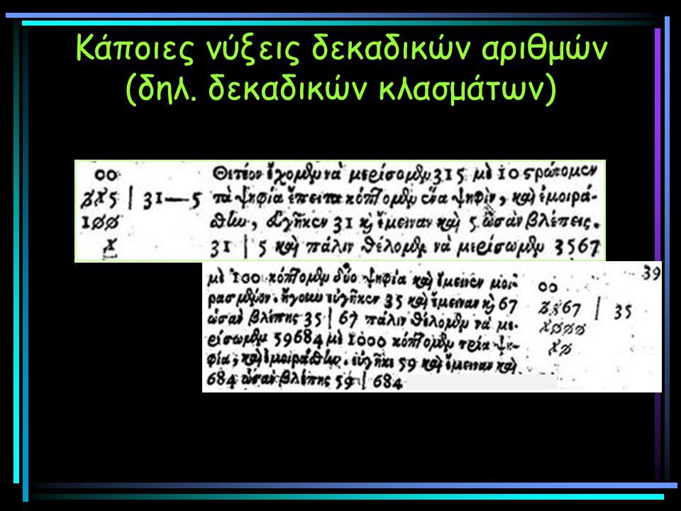 Κάποιες νύξεις δεκαδικών αριθμών (δηλ. δεκαδικών κλασμάτων)