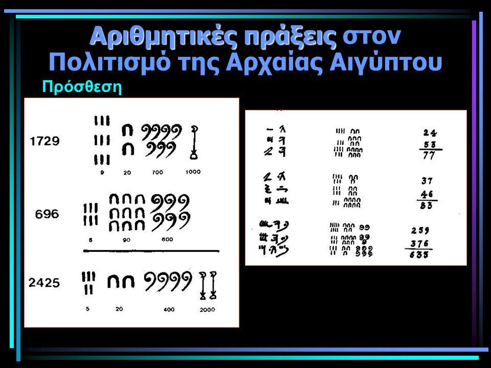 Αριθμητικές πράξεις Αριθμητικές πράξεις στον Πολιτισμό της Αρχαίας Αιγύπτου Πρόσθεση