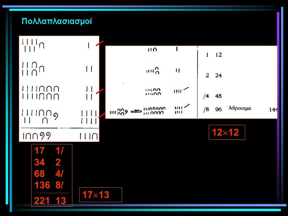 Πολλαπλασιασμοί 17 1/ 34 2 68 4/ 136 8/ -------------------------------- 221 13 17  13 12  12