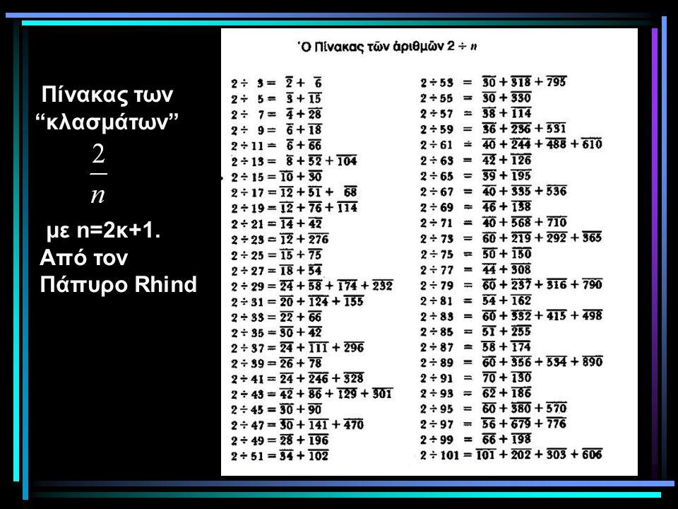 """Πίνακας των """"κλασμάτων"""" με n=2κ+1. Από τον Πάπυρο Rhind"""