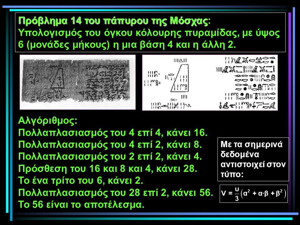 Πρόβλημα 14 του πάπυρου της Μόσχας Πρόβλημα 14 του πάπυρου της Μόσχας: Υπολογισμός του όγκου κόλουρης πυραμίδας, με ύψος 6 (μονάδες μήκους) η μια βάση