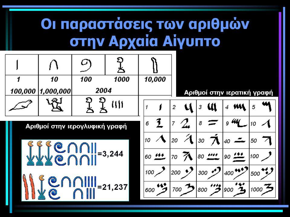 Οι παραστάσεις των αριθμών στην Αρχαία Αίγυπτο Αριθμοί στην ιερογλυφική γραφή Αριθμοί στην ιερατική γραφή