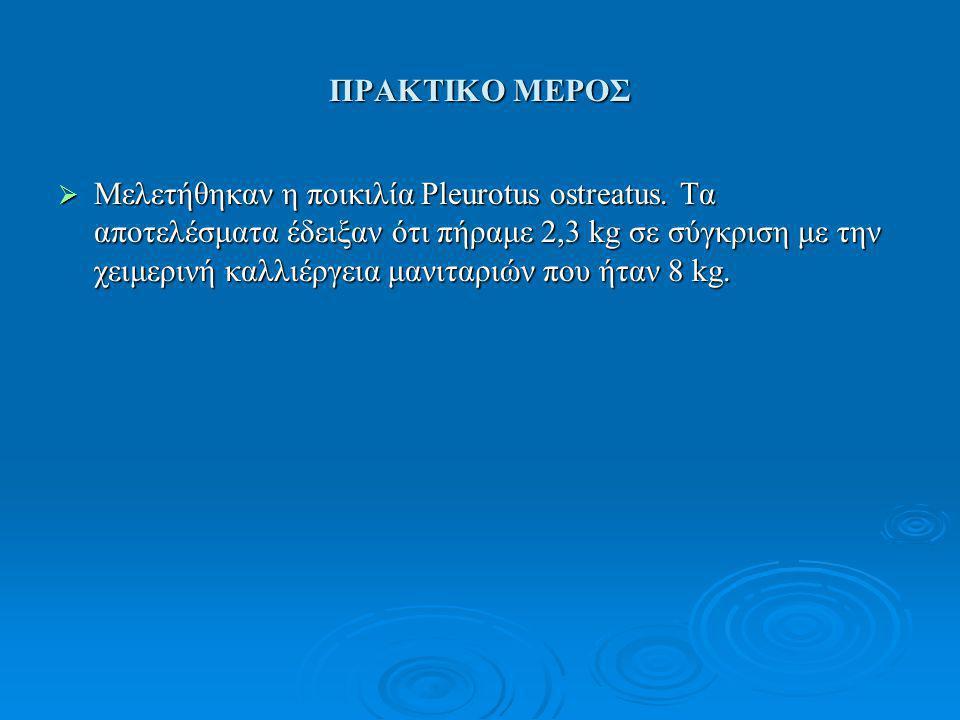 ΠΡΑΚΤΙΚΟ ΜΕΡΟΣ  Μελετήθηκαν η ποικιλία Pleurotus ostreatus. Τα αποτελέσματα έδειξαν ότι πήραμε 2,3 kg σε σύγκριση με την χειμερινή καλλιέργεια μανιτα