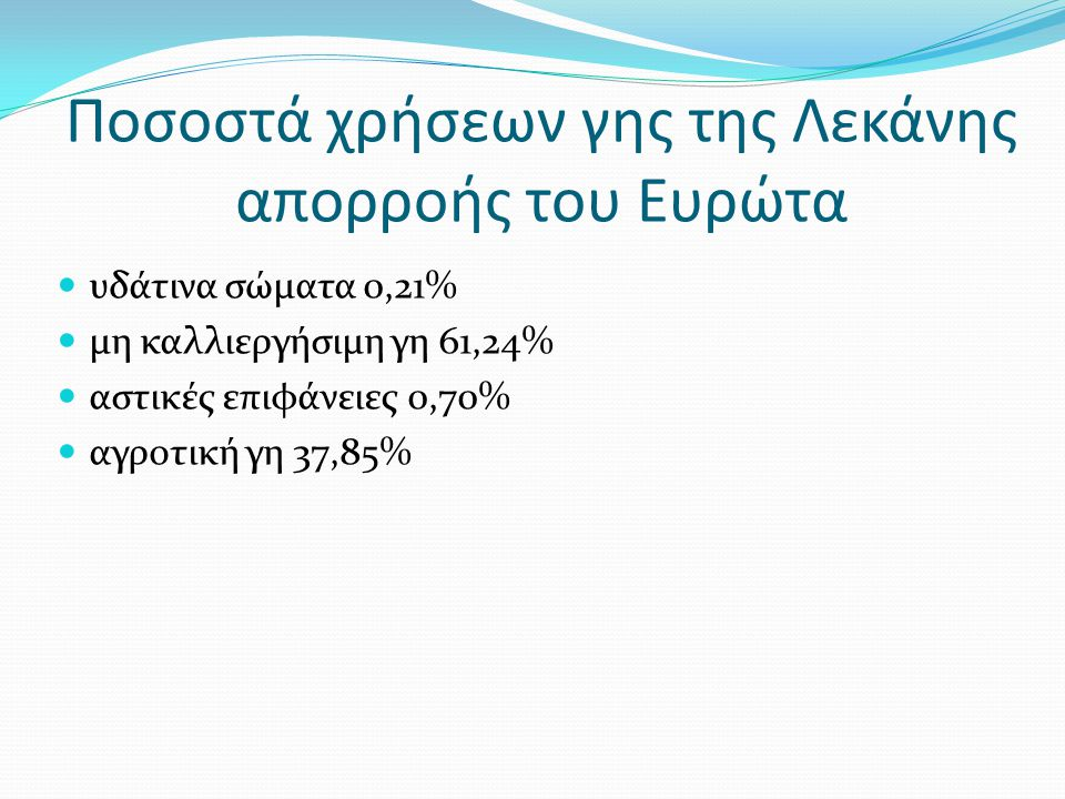 Ποσοστά χρήσεων γης της Λεκάνης απορροής του Ευρώτα υδάτινα σώματα 0,21% μη καλλιεργήσιμη γη 61,24% αστικές επιφάνειες 0,70% αγροτική γη 37,85%