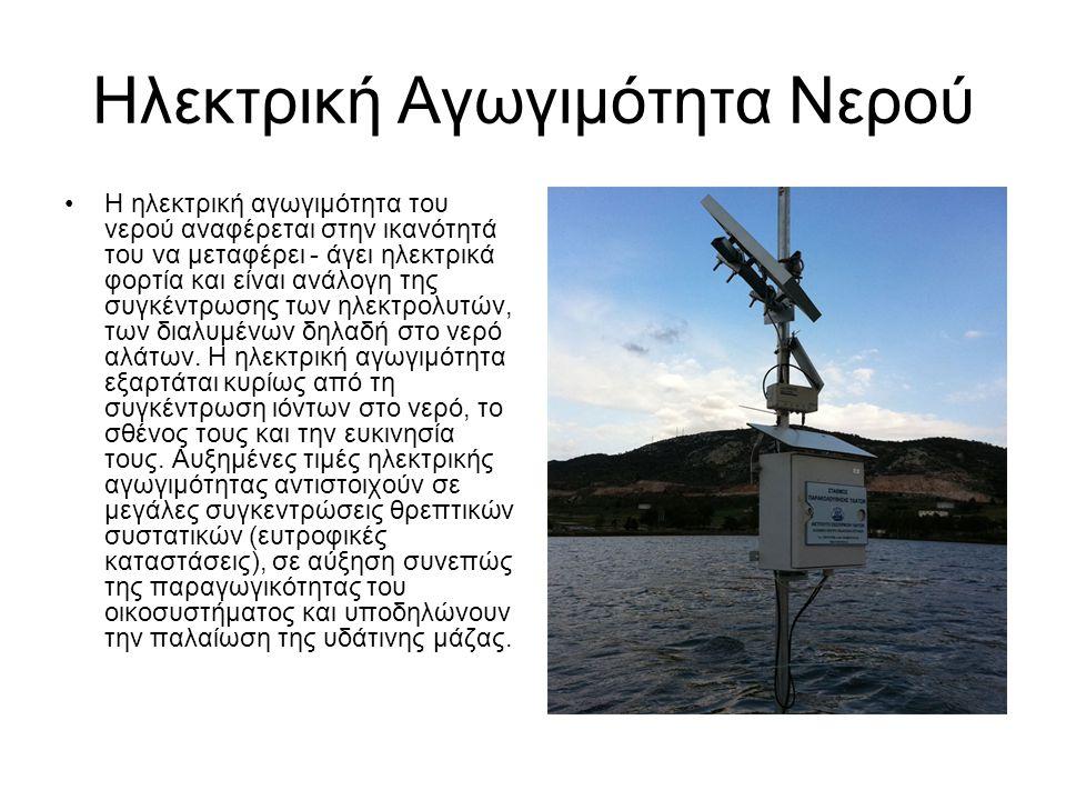 Ηλεκτρική Αγωγιμότητα Νερού Η ηλεκτρική αγωγιμότητα του νερού αναφέρεται στην ικανότητά του να μεταφέρει - άγει ηλεκτρικά φορτία και είναι ανάλογη της