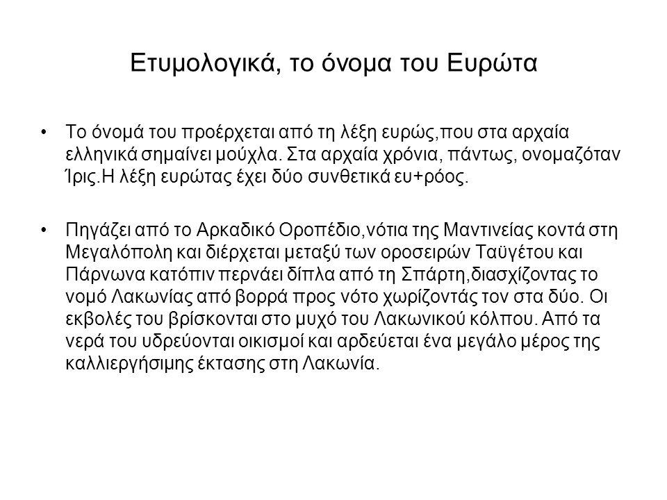 Ετυμολογικά, το όνομα του Ευρώτα Το όνομά του προέρχεται από τη λέξη ευρώς,που στα αρχαία ελληνικά σημαίνει μούχλα. Στα αρχαία χρόνια, πάντως, ονομαζό