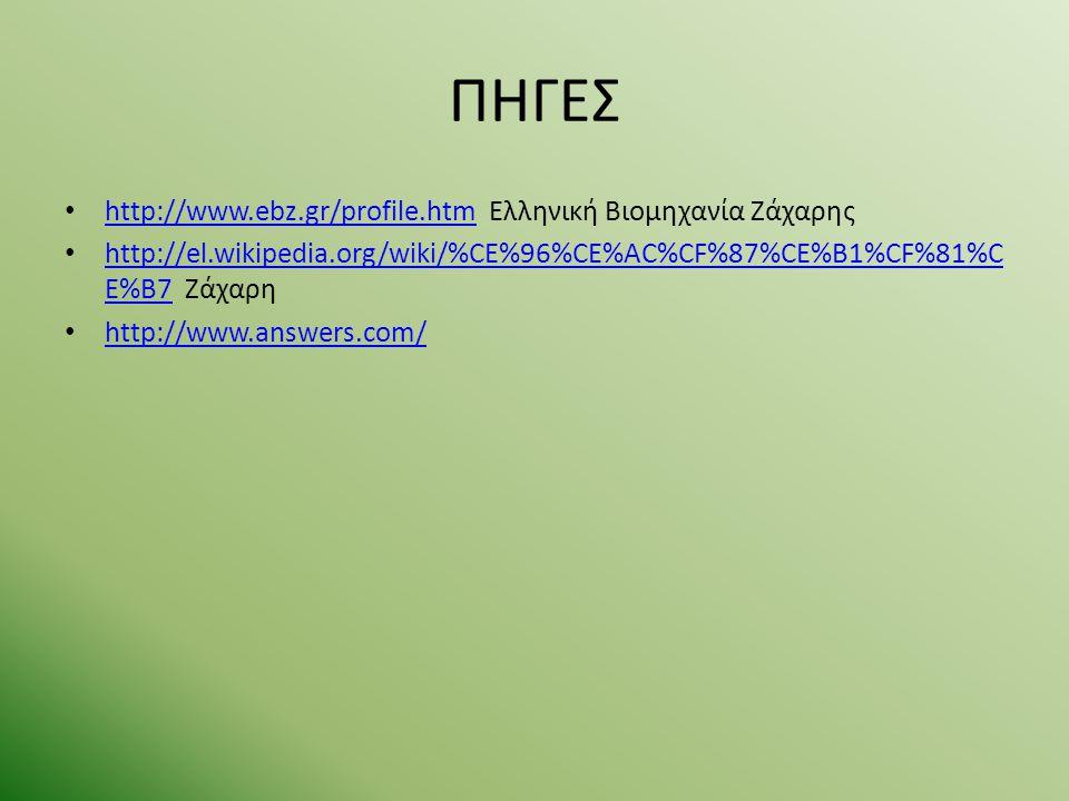 ΠΗΓΕΣ http://www.ebz.gr/profile.htm Ελληνική Βιομηχανία Ζάχαρης http://www.ebz.gr/profile.htm http://el.wikipedia.org/wiki/%CE%96%CE%AC%CF%87%CE%B1%CF