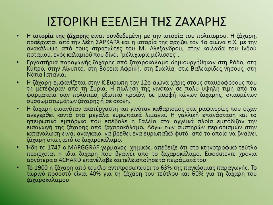 ΙΣΤΟΡΙΚΗ ΕΞΕΛΙΞΗ ΤΗΣ ΖΑΧΑΡΗΣ ΣΤΗΝ ΕΛΛΑΔΑ Tο 1842 ιδρύεται το πρώτο ελληνικό ζαχαρουργείο κοντά στο χωριό Kαινούργιο της Λοκρίδα.