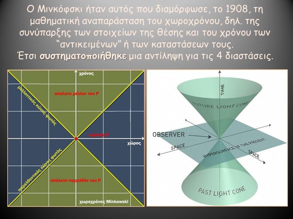 Ο Μινκόφσκι ήταν αυτός που διαμόρφωσε, το 1908, τη μαθηματική αναπαράσταση του χωροχρόνου, δηλ. της συνύπαρξης των στοιχείων της θέσης και του χρόνου