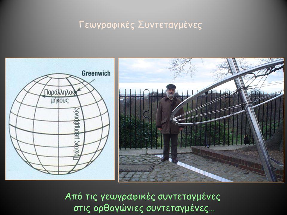 Γεωγραφικές Συντεταγμένες Από τις γεωγραφικές συντεταγμένες στις ορθογώνιες συντεταγμένες…