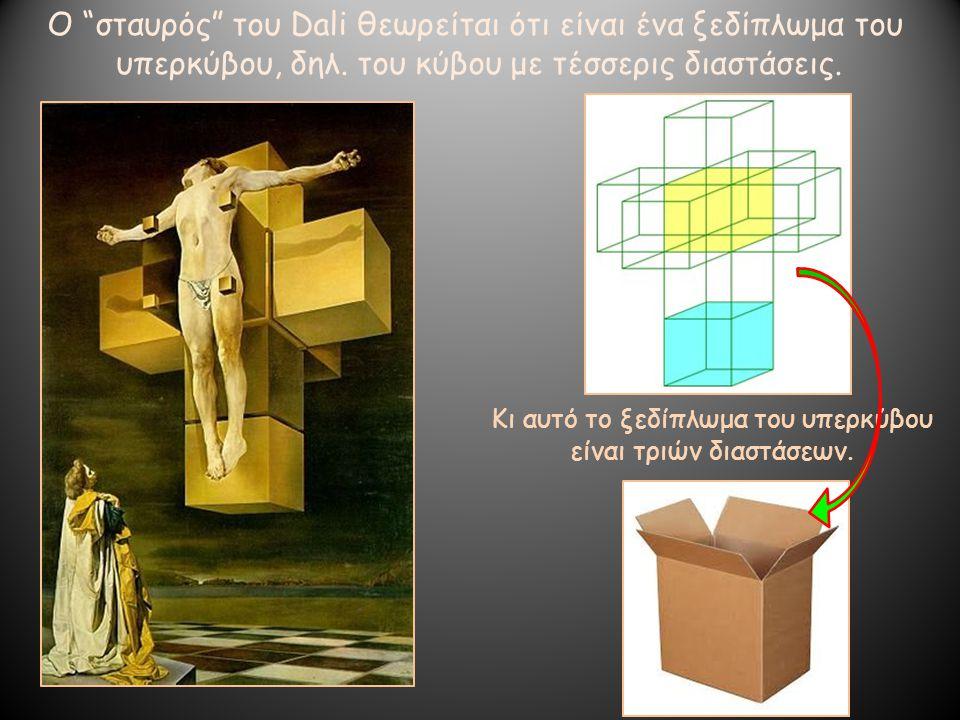 """Ο """"σταυρός"""" του Dali θεωρείται ότι είναι ένα ξεδίπλωμα του υπερκύβου, δηλ. του κύβου με τέσσερις διαστάσεις. Κι αυτό το ξεδίπλωμα του υπερκύβου είναι"""