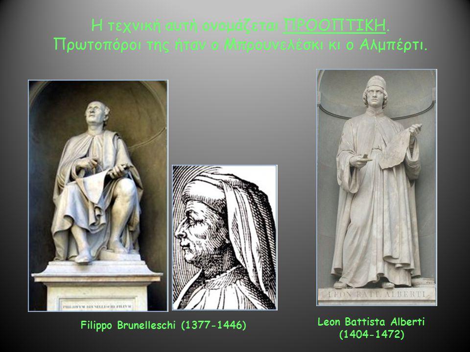 Η τεχνική αυτή ονομάζεται ΠΡΟΟΠΤΙΚΗ. Πρωτοπόροι της ήταν ο Μπρουνελέσκι κι ο Αλμπέρτι. Filippo Brunelleschi (1377-1446) Leon Battista Alberti (1404-14