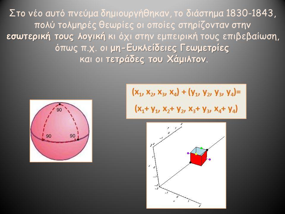Στο νέο αυτό πνεύμα δημιουργήθηκαν, το διάστημα 1830-1843, πολύ τολμηρές θεωρίες οι οποίες στηρίζονταν στην εσωτερική τους λογική εσωτερική τους λογικ