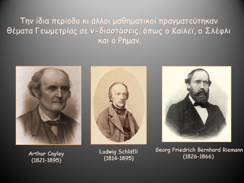 Την ίδια περίοδο κι άλλοι μαθηματικοί πραγματεύτηκαν ν-διαστάσεις θέματα Γεωμετρίας σε ν-διαστάσεις, όπως ο Καίλεϊ, ο Σλέφλι και ο Ρήμαν. Arthur Cayle