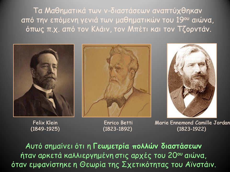 Τα Μαθηματικά των ν-διαστάσεων αναπτύχθηκαν από την επόμενη γενιά των μαθηματικών του 19 ου αιώνα, όπως π.χ. από τον Κλάιν, τον Μπέτι και τον Τζορντάν