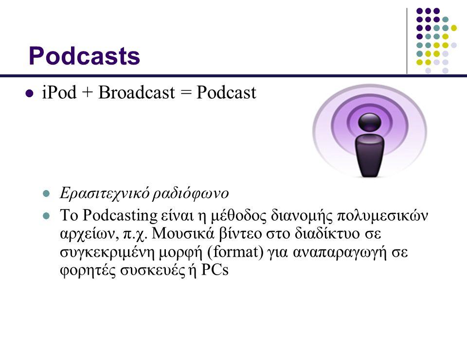 Podcasts iPod + Broadcast = Podcast Ερασιτεχνικό ραδιόφωνο Το Podcasting είναι η μέθοδος διανομής πολυμεσικών αρχείων, π.χ.